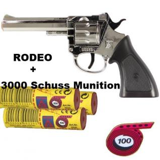 RODEO CHROM Knall-Pistole + 3000 Schus Munition Kinder Spielzeug Revolver Wester