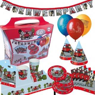 FEUERWEHR 60 teiliger Partykoffer Kinder Geburtstag Party Deko: Teller Becher