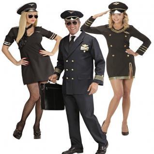 PILOT PILOTIN Partner Kostüm Damen und Herren Uniform Flugkapitän Stewardess