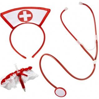 3 tlg. KRANKENSCHWESTER SET - Haube + Stethoskop + Strumpfband - Nurse Kostüm - Vorschau