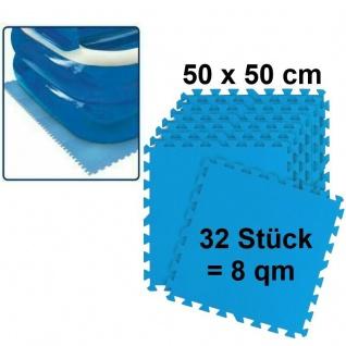 Pool Bodenmatte 4x8er Pack 8 m² 50x50cm blau Bodenschutz Unterlage Planschbecken