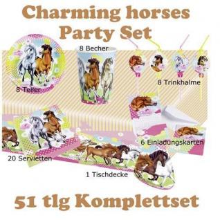51 tlg. Set charming Horses 2 Kinder Geburtstag Party Deko, Tischdecke, Teller,