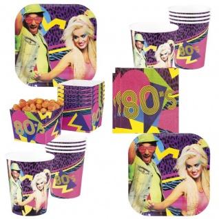 48 Tlg. Sparset 80er Jahre Party Deko 80's Disco Teller Becher Servietten Schal
