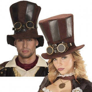 Steampunk ZYLINDER mit Brille Viktorianisch Rokoko Barock Piraten Hut Retro