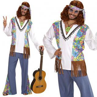 60er 70er Herren Hippie Kostüm Gr: XL (54) Schlagermove Flower Power Woodstock