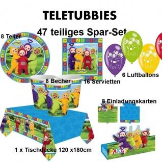 47 tlg. TELETUBBIES - Spar Set - Kinder Geburtstag Party Deko, Teller Becher