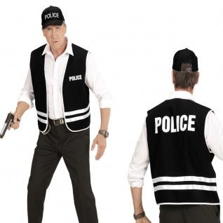2 tlg. Polizei Set für Herren Police Kostüm - Weste + Cap - Karneval Fasching