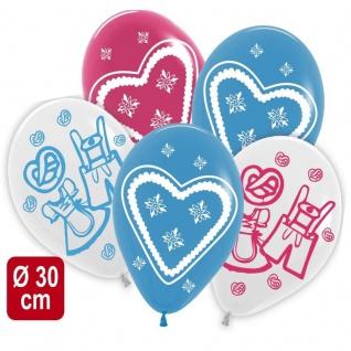 5 Luftballons Ø 30cm Oktoberfest Bayern Bayern Party Deko weiß blau Helium #6213