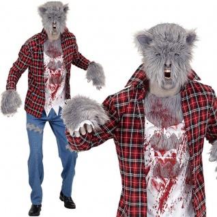 Herren Kostüm WERWOLF Zombie Komplettset mit Maske Halloween Gr. 48 50 52 54 56