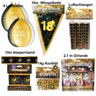 18. Geburtstag Großes Deko Set - 18 Jahre Deko Party Schwarz Gold Jubiläum Set 1