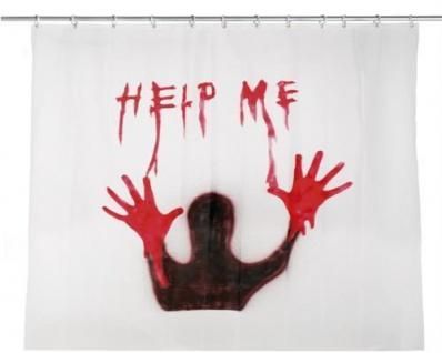 """BLUTIGER VORHANG """" HELP ME"""" 180x180 cm Halloween Horror Party Deko Duschvorhang"""