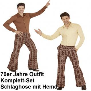 70er Jahre Herren SCHLAGHOSE + HEMD Kostüm School Disco Hippie Schlagermove 48-5