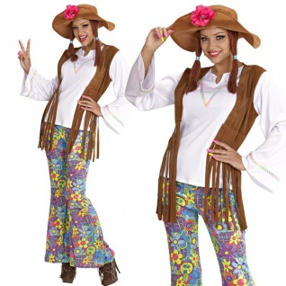 Hippie Kostüm Damen Gr. L (42/44) 60er 70er Jahre Flower Power Woodstock #6043