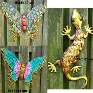 3D Wanddeko Schmetterling Eidechse Metall farbig Garten Haus Deko AUSWAHL
