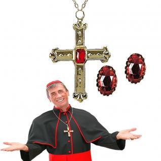 3tlg Schmuck-Set Kardinal Papst - Kreuzkette + 2Ringe - Kostüm Zubehör Kirche