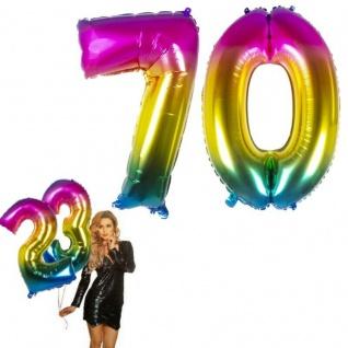 70.Geburtstag XXL FOLIENBALLON Zahl 86cm Regenbogen bunt Helium Luftballon