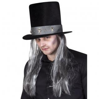 ZYLINDER MIT HAAREN Totengräber Herren Hut Halloween Horror Kostüm #7005