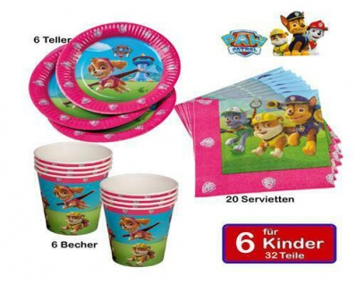 Girl Paw Patrol Kinder Geburtstag Party Teller Becher Servietten 32tlg.(Tip)