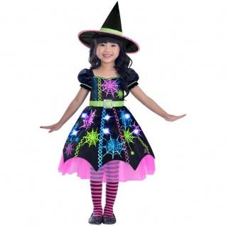 SPINNEN HEXE Mädchen Kinder Kostüm Gr. 98 104 110 - Kleid mit Hut - Halloween