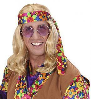 HIPPIE PERÜCKE Blond Karneval Fasching 70er Jahre Herren Kostüm Party 6496