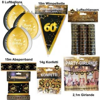 60. Geburtstag Großes Deko Set - 60 Jahre Deko Party Schwarz Gold Jubiläum Set 1