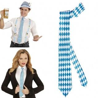 KRAWATTE Oktoberfest Schlips blau weiß Raute Wiesn Bayern Kostüm Zubehörj