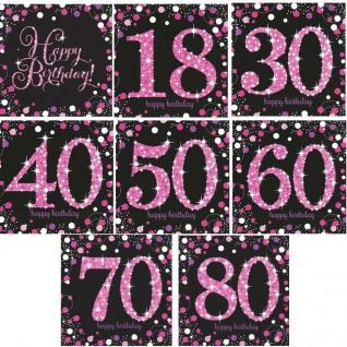 Happy Birthday 18 30 40 50 60 70 80 Geburtstag Party Servietten pink schwarz