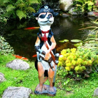Garten Figur Kaptiän Erdmännchen Pirat mit Flinte Maritime Haus und Garten Deko