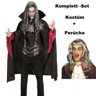 Vampir 50/52 (M/L) Graf Dracula mit Perücke - Herren Kostüm Karneval Fasching