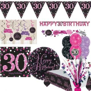30. Geburtstag Jubiläum Feier Pink Schwarz Party Deko Set Zahl 30 - PREISWERT -