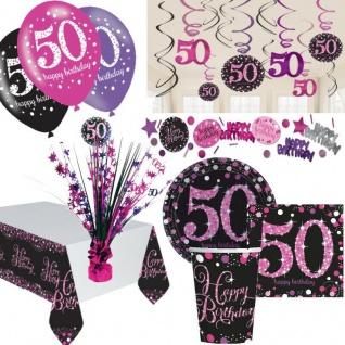 50. Geburtstag Party Deko Set Pink Schwarz Dekoration Jubiläum Feier Zahl 50