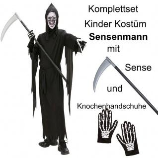 TOP SET Kinder Kostüm Tod Gr. 158 Sensenmann mit Sense und Handschuhe Halloween