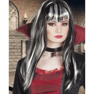 Damen Perücke VAMPIR DRACULA HEXE schwarz/weiß Medea Halloween Gothic #287