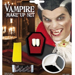 Schminkset VAMPIR Schminke Halloween Fasching Make-up Vampirzähne Dracula 100v