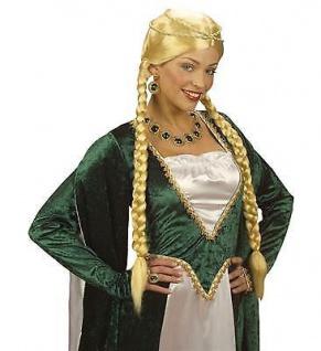 DELUXE MITTELALTER PERÜCKE BLOND - Burg Schloss Prinzessin Kostüm Zubehör 0871