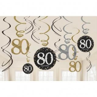 80. Geburtstag Party 12 tlg Swirl Girlanden schwarz Gold Raum Deko Jubiläum 0965