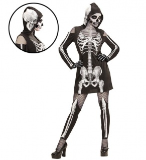 Skelett Lady Kleid Kostüm Halloween Damen Skelett Skelettkleid mit Kaputze