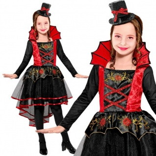 VAMPIRIN VAMPIR edles Kinder Kostüm Mädchen - Kleid mit Hut - Halloween Dracula