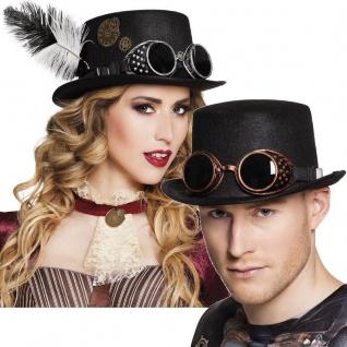 Zylinder Steampunk mit Fliegerbrille - Damen & Herren Hut schwarz Retro Gothic