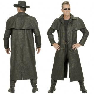 Duster Western-Mantel Staubmantel Herren Kostüm schwarz Wildleder-Optik Cowboy