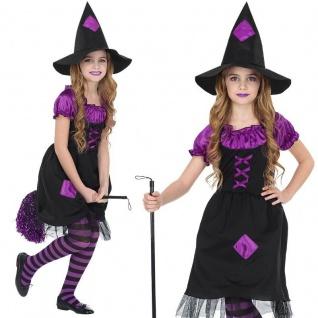 Hexenkostüm Lilly Halloween - komplettes Kinder Kostüm Hexe lila / schwarz