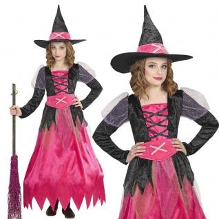 PINKE HEXE Mädchen Kinder Hexen Kostüm Gr. 128 Rosa Kleid + Hut Halloween #1525