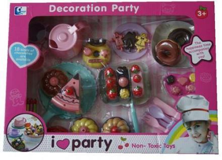 Großes Kinder Party Kuchen-Set Kaffeeservice Donuts, Kinderküche Lebensmittel