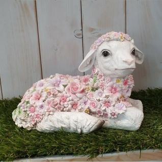 Gartenfigur Lamm liegend mit Blumen Schaf Haus Garten Deko Figur #12111