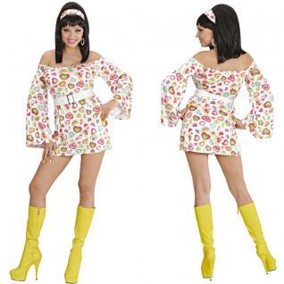 Disco Kleid Minikleid 70er 80er Jahre Hippie Party Damen Kostüm Schlagermove