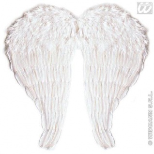 Engelsflügel weiß mit echten Federn 67 x 64 cm Kostüm Engel Flügel
