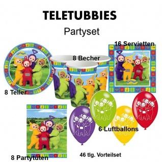 46 tlg. TELETUBBIES Kinder Geburtstag Party Deko, Teller Becher Einladung usw.