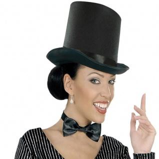 großer schwarzer Damen ZYLINDER HUT - Filz - Karneval Fasching Mütze #664t