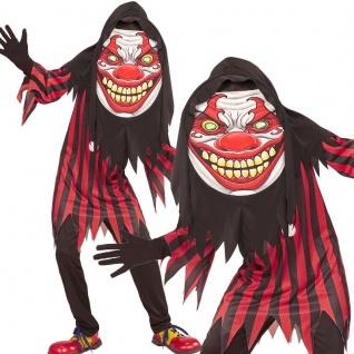 Creepy CLOWN Kinder Kostüm Gr. 158 (11-13 Jahre) Big Face Halloween Karneval