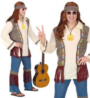 Hippie Herren Kostüm 52 (L) Jeans Schlaghose 60er 70er Jahre Flower Power #0712